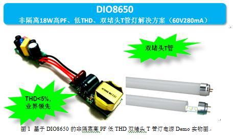 帝奥微电子全电压范围5%-THD高品质18W非隔离LED商业照明T管灯解决方案