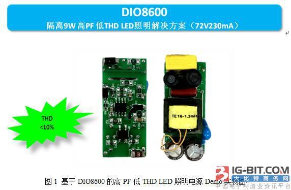 帝奥微电子高品质9W隔离高PF低THD LED照明解决方案