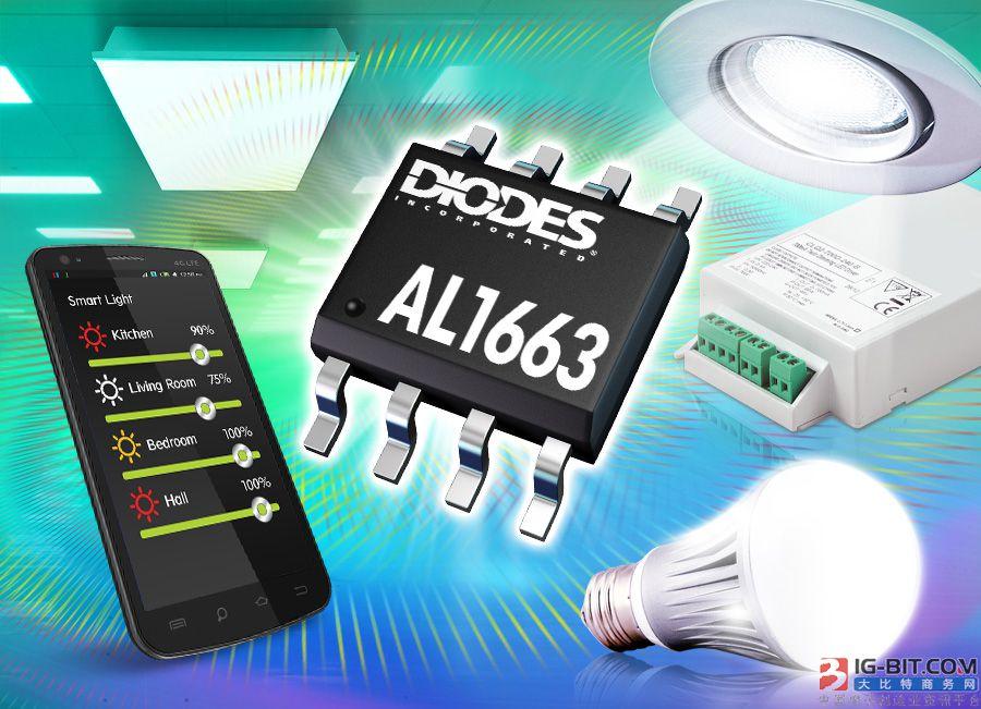 Diodes 公司可调光LED 控制器具有可驱动高达150W灯的高功率因数