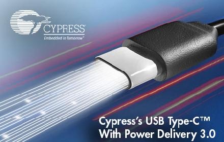 赛普拉斯率先推出支持USB Power Delivery 3.0 的USB-C解决方案
