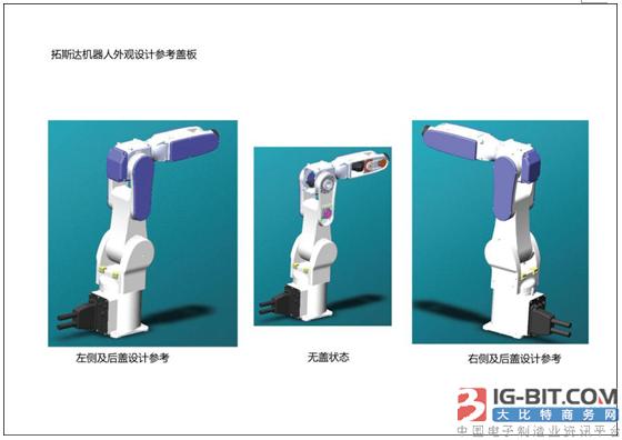 产品设计参照提供的机器人外观参照模型及公司的商标LOGO图片。