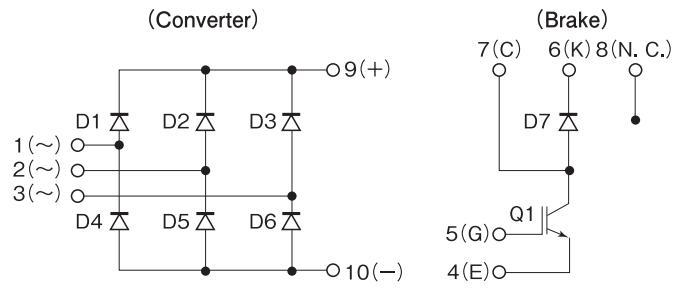 图2:Shindengen功率模块的内部电路图 该系列功率模块通过将变频器部分的三相桥二极管与再生制动部分的lGBT和二极管封装在一起,与分别使用半导体器件进行组装相比,可以实现安装面积减少40%,电阻减少44%。另外还可以活用本封装模块,通过单相桥和再生制动部的组合产品进行PFC用的产品开发。 特点: • 小DIP封装 • 独立包装 • 高电压 • 高散热 • 易于安装 • 使机器尺寸变小 • 有助改善生产 应用: • 逆