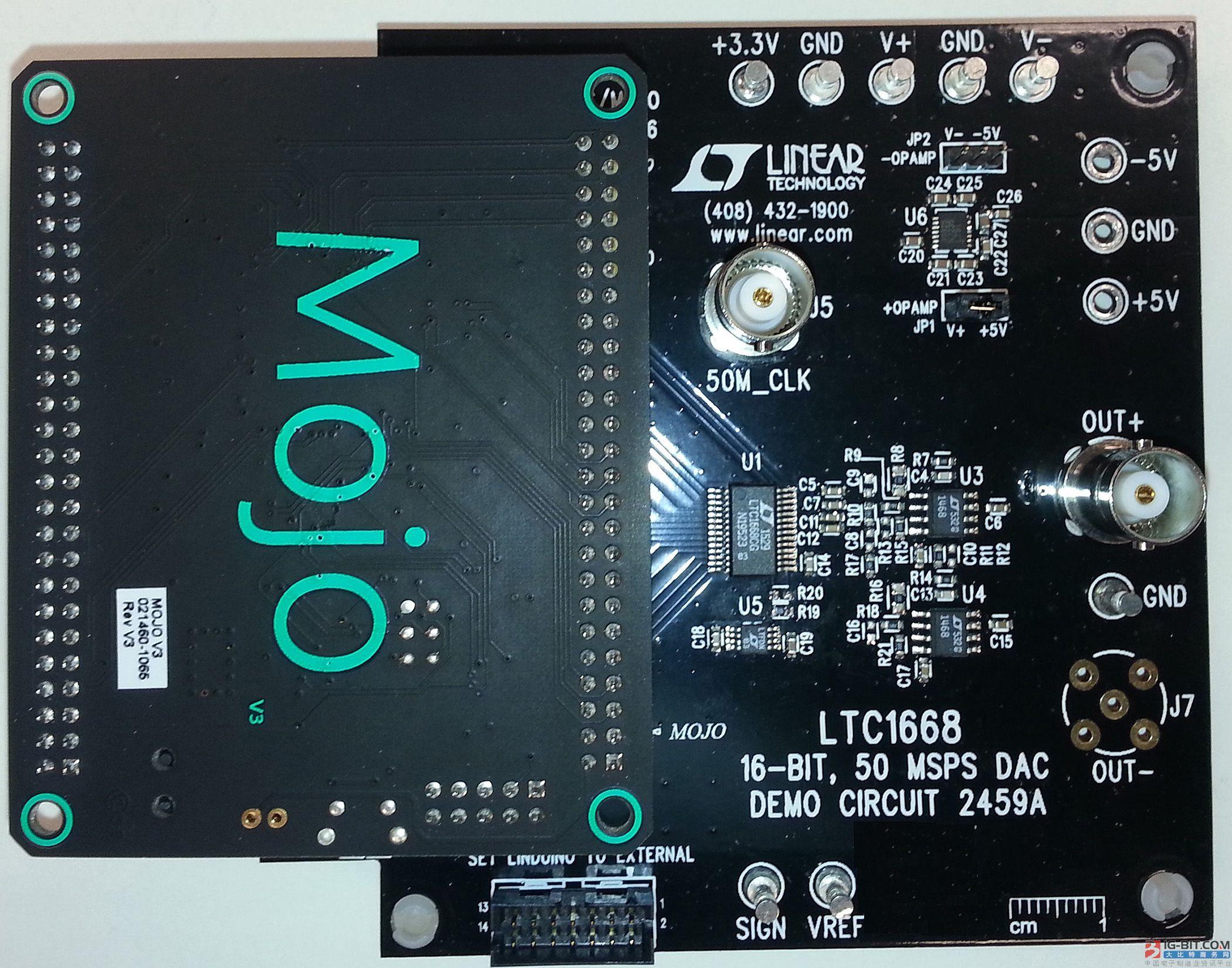 50Msps、16位 DAC 演示板具有 Mojo