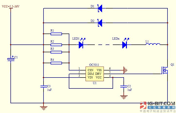 欧创芯基于oc5011设计大功率降压恒流方案