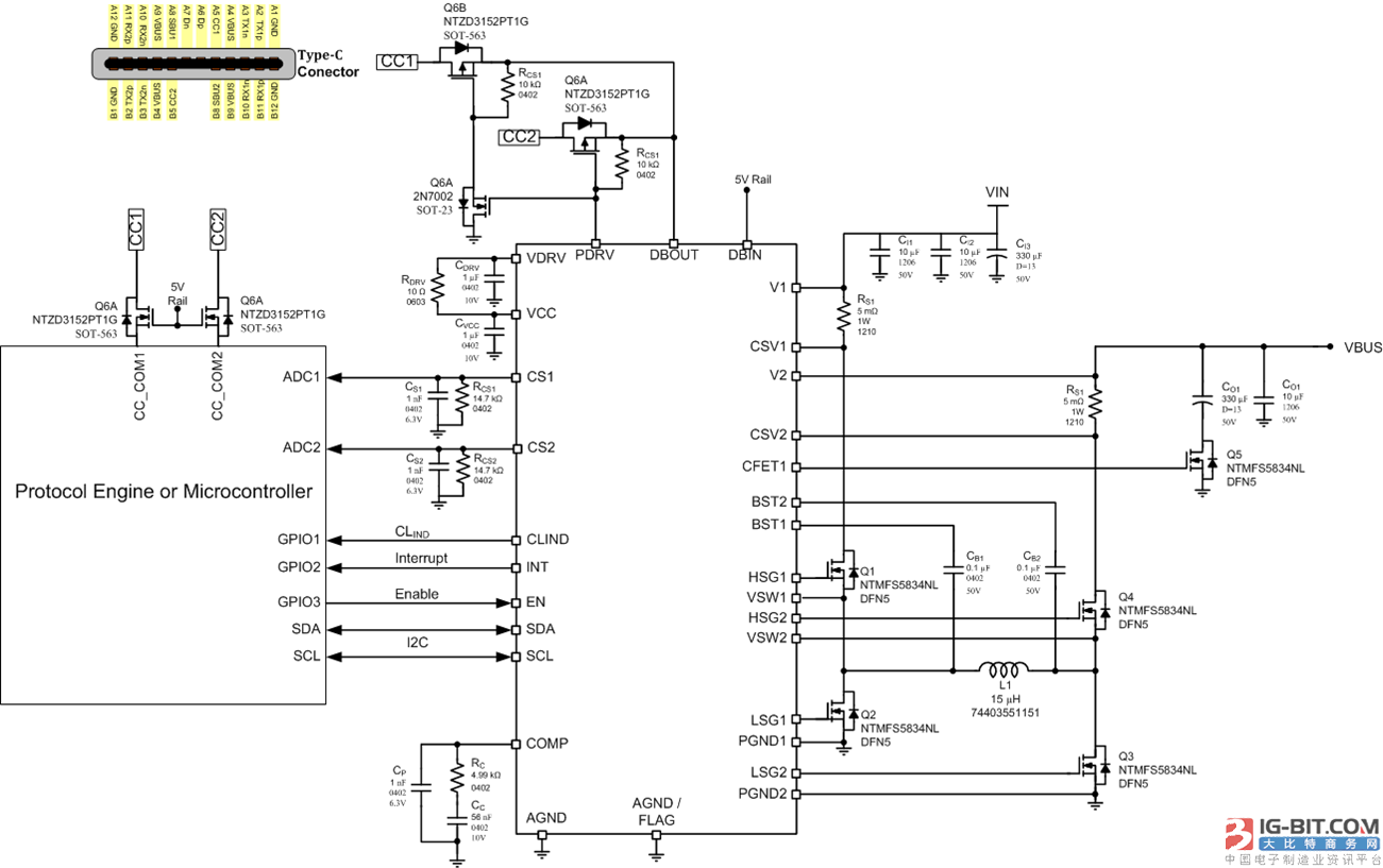 图2:NCP81239典型应用电路图 NCP81239采用双沿电流模式升降压控制,可实现降压模式到升压模式的无缝切换。I²C接口仅用两条信号线实现双向串行通信,开漏极的连接可以方便的在不同逻辑电平间接口,兼容1.8 V,2.5 V,3.3 V和5 V逻辑电平的MCU。 输入输出电流可以通过高边的检测电阻进行检测,检测到的电压分为内部和外部两个通道:内部电流信号用于电流模式的环路控制和限流保护,过流保护可以通过内部寄存器进行设置或屏蔽,内部固定增益为10倍,内部电流值通过模数转换器(ADC)存入
