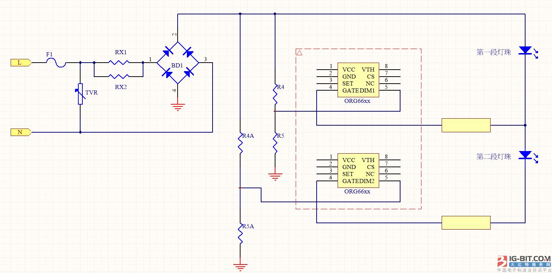 ORG66XX系列可控硅调光实现调色温渐变方案