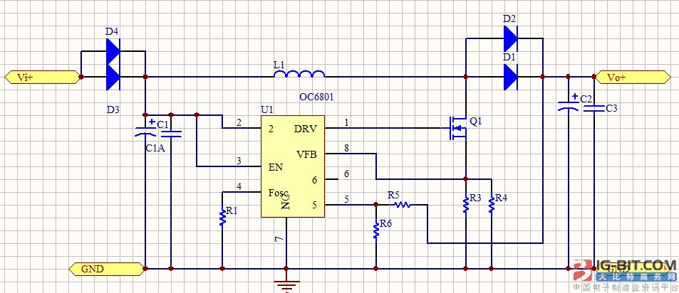 欧创芯基于OC6801设计的升压恒压驱动方案