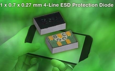 Vishay推出新的4路ESD保护阵列VBUS54FD-SD1