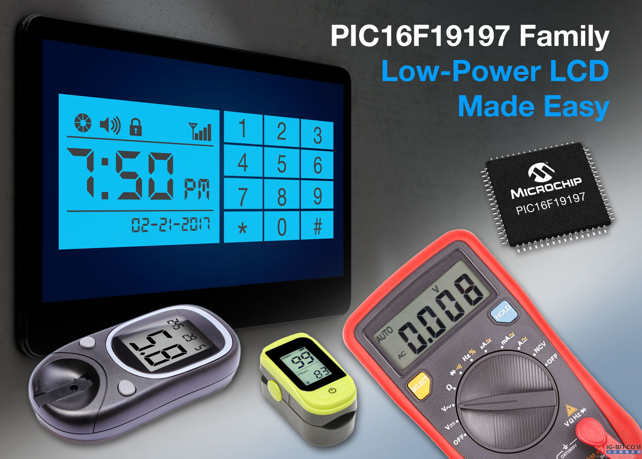 Microchip 推出新型MCU简化低功耗LCD应用设计 PIC16F19197单片机系列集成了电池友好型LCD驱动、