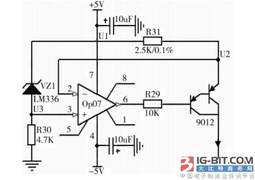 恒流源驱动电路负责驱动温度传感器pt100,将其感知的随温度变化的
