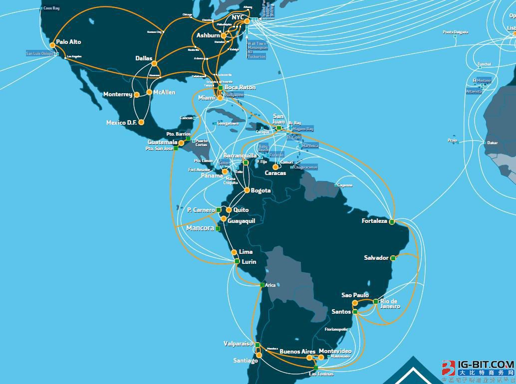 加勒比-美国新海底光缆筹建全长12000千米