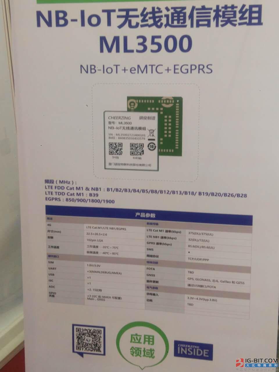 图:骐俊NB-IoT无线通信模组ML3500
