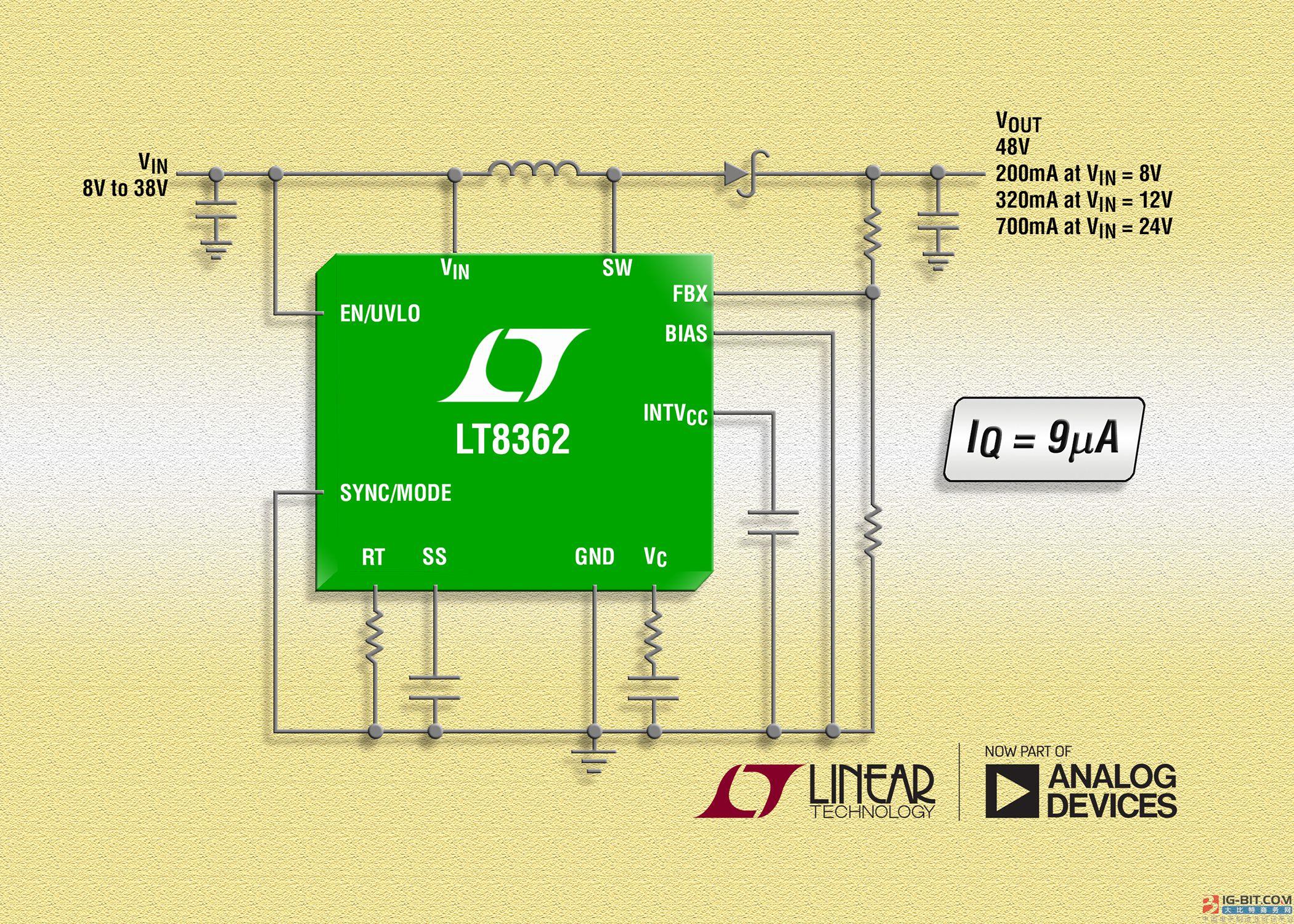 具 9µA 静态电流的2A、2MHz、 60V 升压/ SEPIC / 负输出 DC/DC 转换器