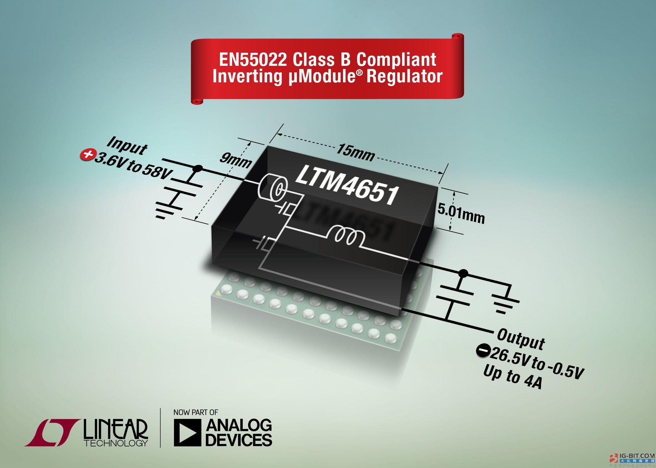 58VIN、24W、负输出µModule 稳压器符合EN55022Class B 要求