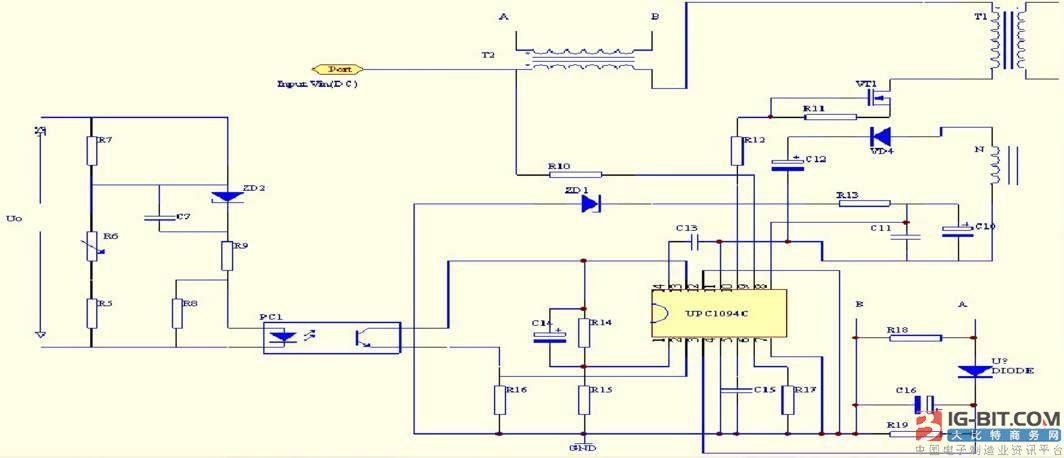 1、振荡器 振荡器的振荡频率fosc有接在引脚6上的定时电阻器R17与接在引脚5上的定时电容器C15决定的。当 时振荡频率 。 2、启动电路 启动电路由接在引脚8上R14接上外部电源为芯片工作提供Vcc=15V电源,而接在引脚9上是通过R10接在外部电路提供集电极电压。 3、限流电路 过流保护电路由R18、R19 、C16组成。它们是接到引脚3上的,在正常情况下,引脚3上电压低于200mV。当出现过流时,引脚3上的电压超过200mV的正负阀值,输出级被锁定为低电平,下个脉冲周期来之前,过流闭锁器复位,对