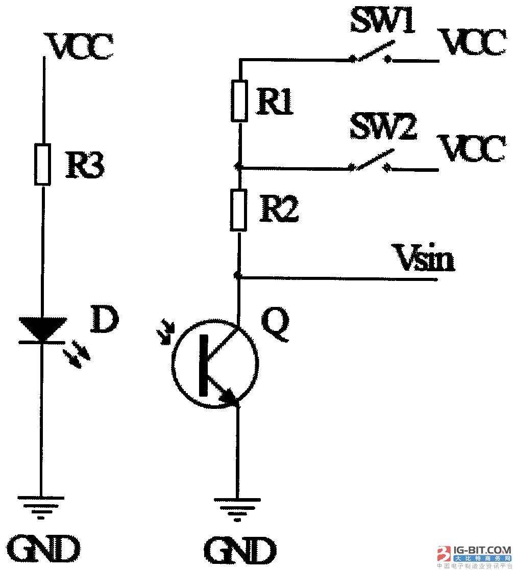 其中单片机内置有adc模块(模数转换器模块),光敏接收管的感应信号采样