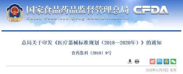 CFDA发布《医疗器械标准规划(2018—2020年)》