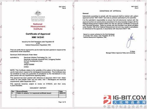 三川智慧NB-IoT超声波远传水表通过澳大利亚NMI认证