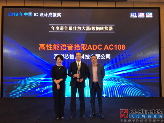 芯智汇科技语音拾取ADC荣获2018中国IC设计成就奖年度最佳产品奖