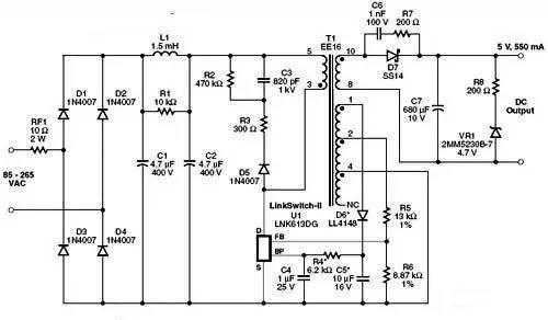 在电路中,二极管d1至 d4对ac输入进行整流,电容c1和c2对dc进行滤波.