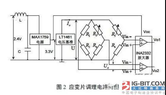 片直流电桥测量电路 应变片调理电路由升压芯片(为芯片提供工作电压)