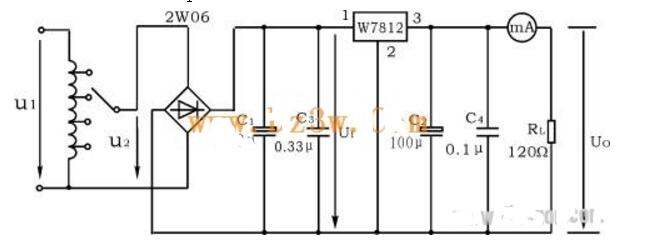 7812构成的串联型稳压电源电路