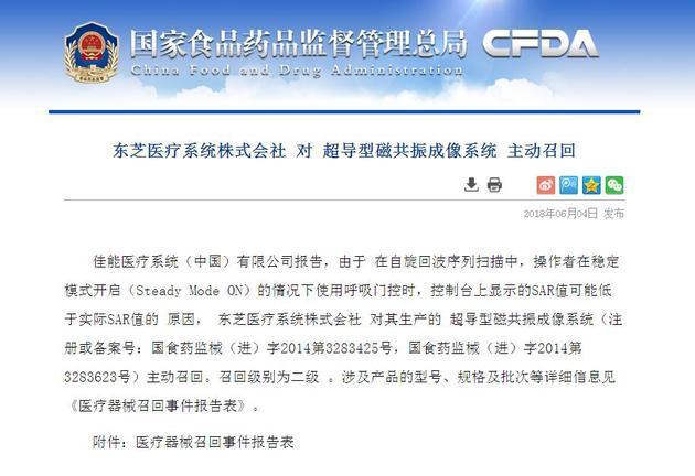 显示SAR值低于实际 东芝医疗在中国召回超导型磁共振成像系统89套