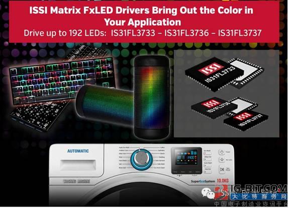 ISSI发布新一代LED矩阵驱动芯片 IS31FL3733系列,可以驱动多达192颗灯