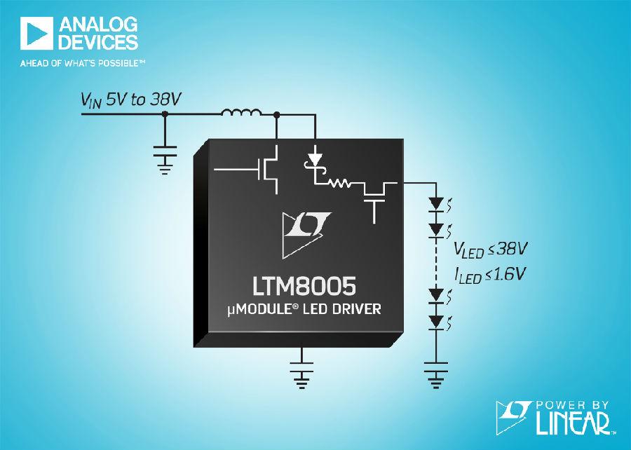 38VIN、10A 升压型 µModule 稳压器非常适合驱动 LED