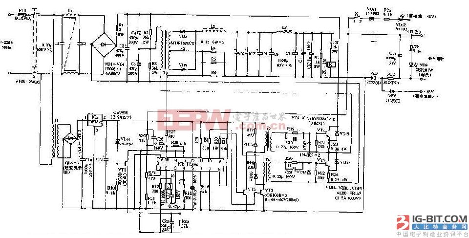 基于48V直流高频开关电源简单原理图解
