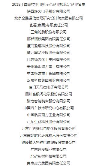 天通控股入选68家拟认定国家技术创新示范企业名单