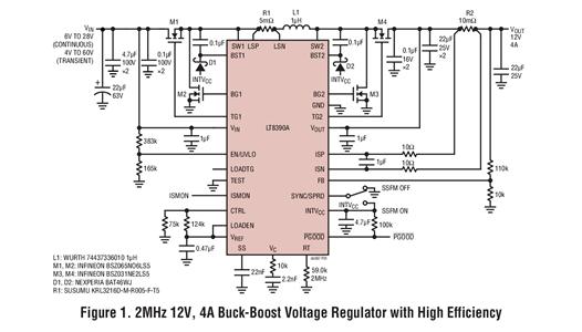 60V、2MHz 降压-升压型控制器调节高功率电压和电流