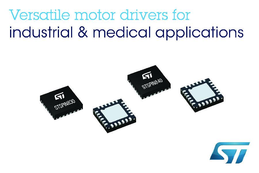 意法半导体发布新款STSPIN电机驱动器,可简化中低功率电机驱动设计,提高电机控制的灵活