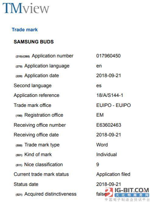 """三星在欧洲注册""""Samsung Buds""""商标 可能用于耳机产品"""