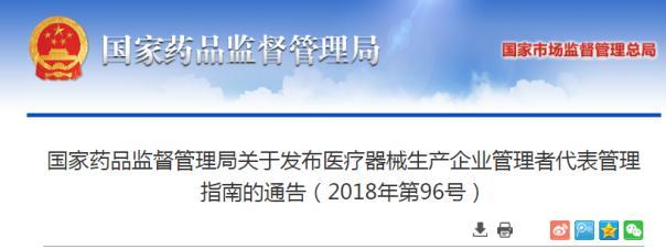 国家药监局发布医疗器械生产企业管理者代表管理指南