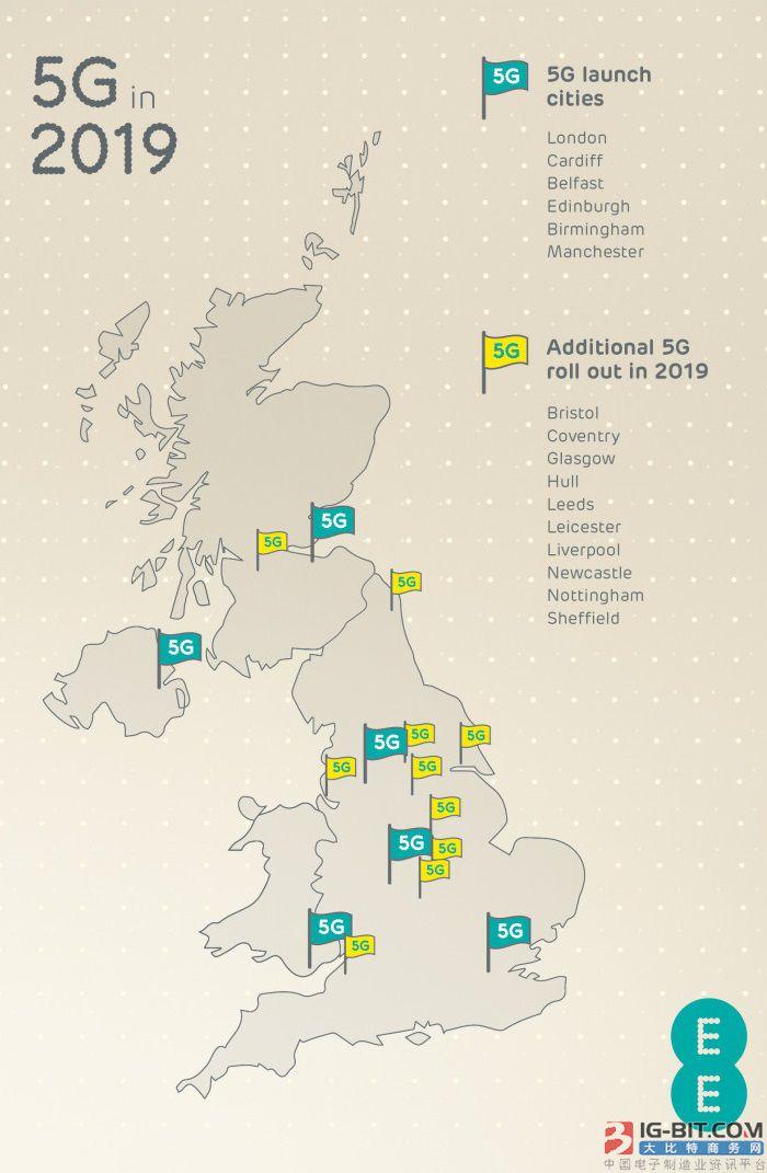 EE公布英国首批开放5G网络的16个城市