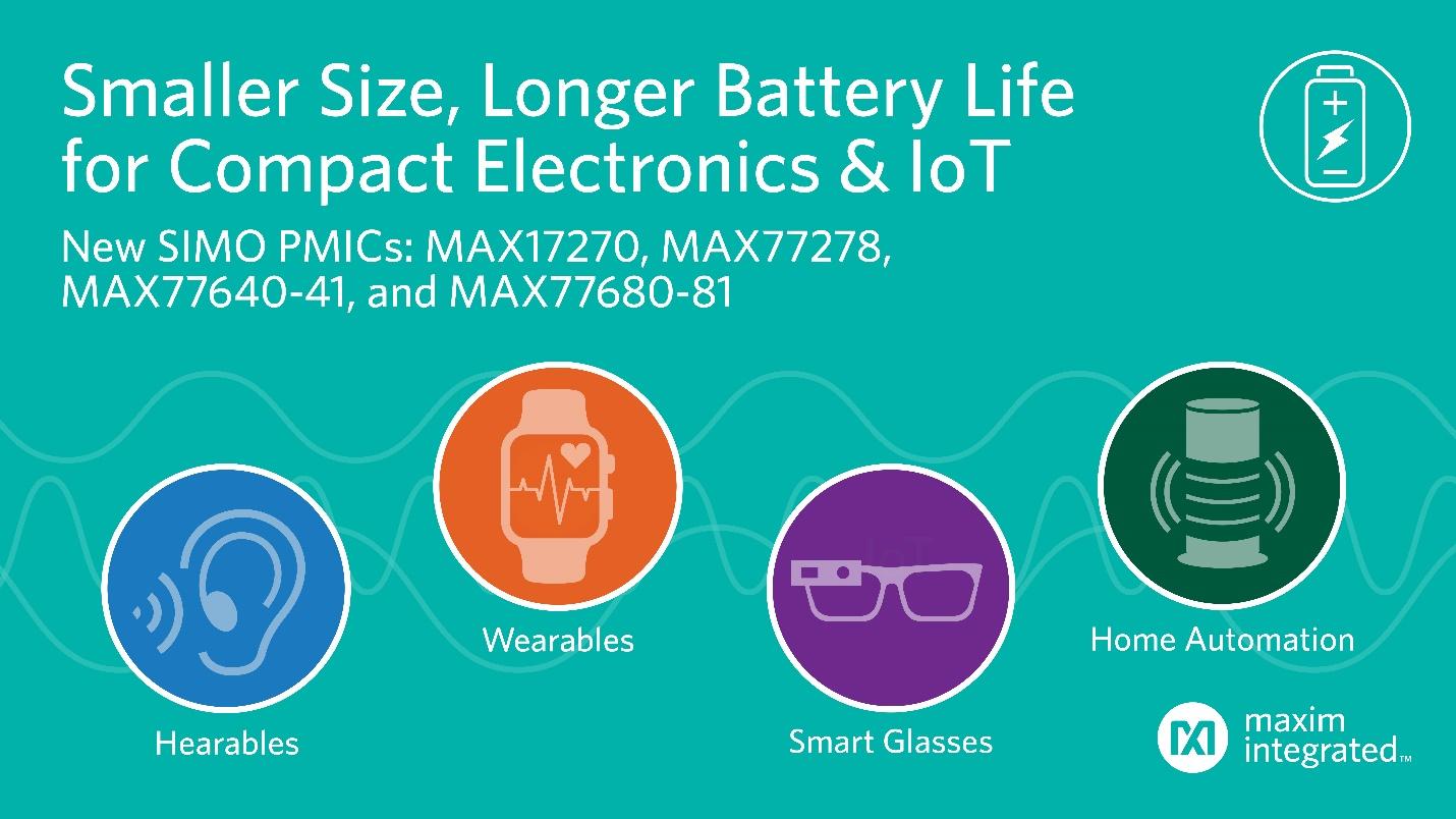 Maxim发布最新SIMO PMIC,将IoT设备的电源稳压器尺寸缩减一半