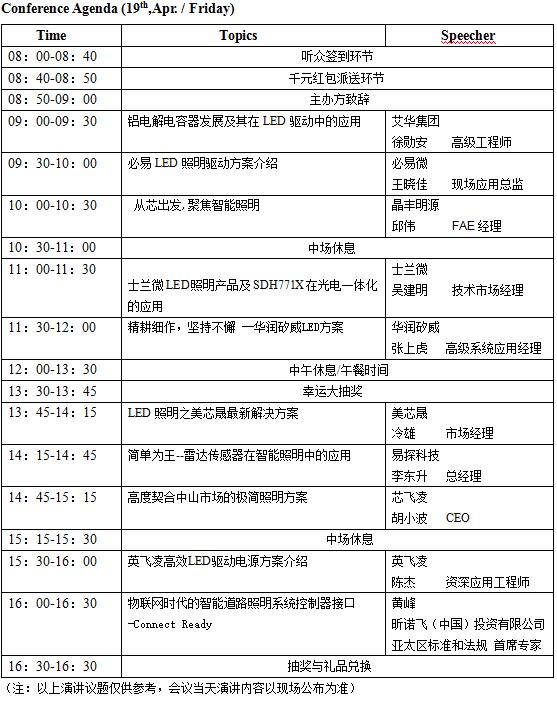 議程新鮮出爐:第30屆(中山)LED照明研討會將在本周五舉行
