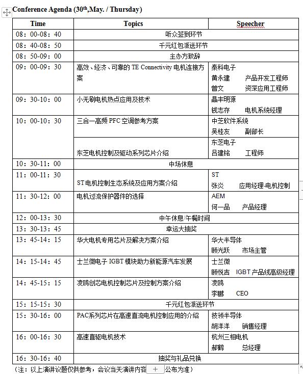议程新鲜出炉:第12届(杭州)电机驱动与控制技术研讨会即将举办