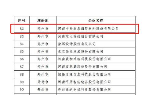 河南中岳非晶新型材料股份有限公司被省地方金融監管局評定為重點上市后備企業
