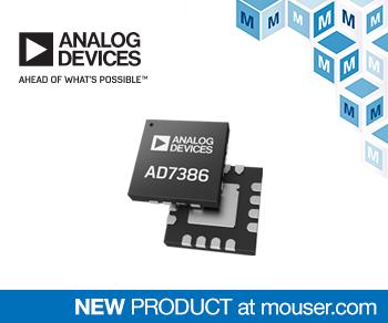贸泽开售吞吐速率高达4 MSPS 的 Analog Devices 16位AD7386 SAR ADC