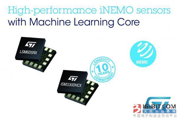 意法半導體推出高級iNEMO傳感器,為工業和消費應用增添機器學習內核的能效優勢