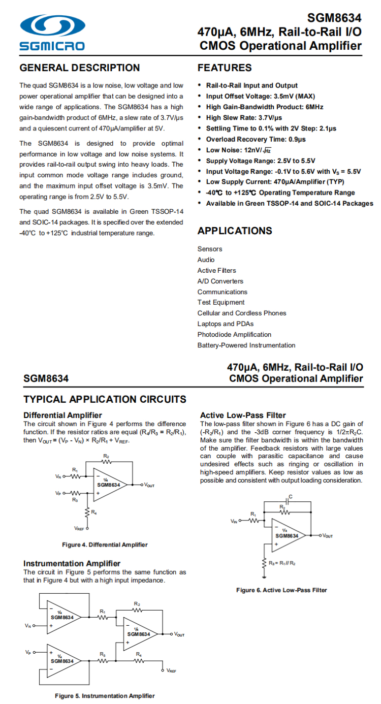圣邦微SGM 8634详细规格参数以及应用电路图