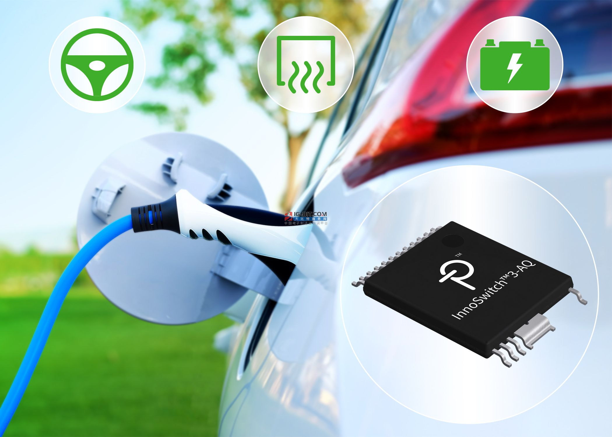 power Integrations推出高度集成的InnoSwitch3反激式开关IC,适合纯电动汽车和插电式混合动力汽