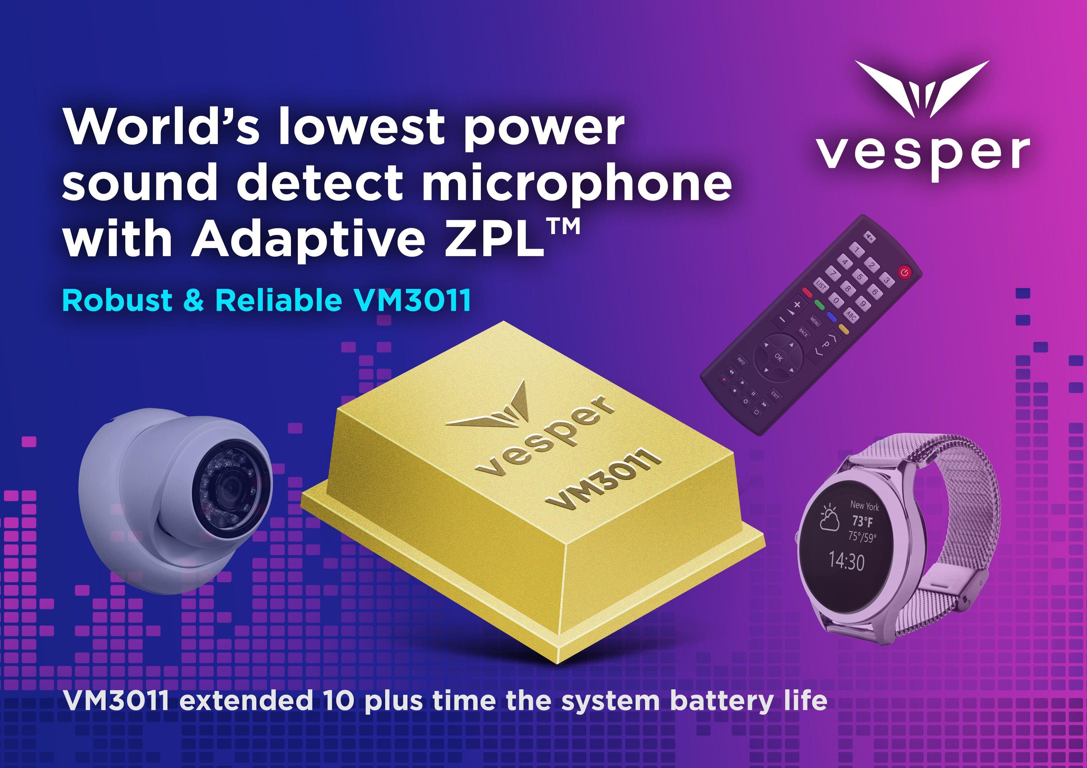 "Vesper发布业界首个Adaptive ZeroPower Listening™器件,能够在智能家居设备中实现""免提""功能"