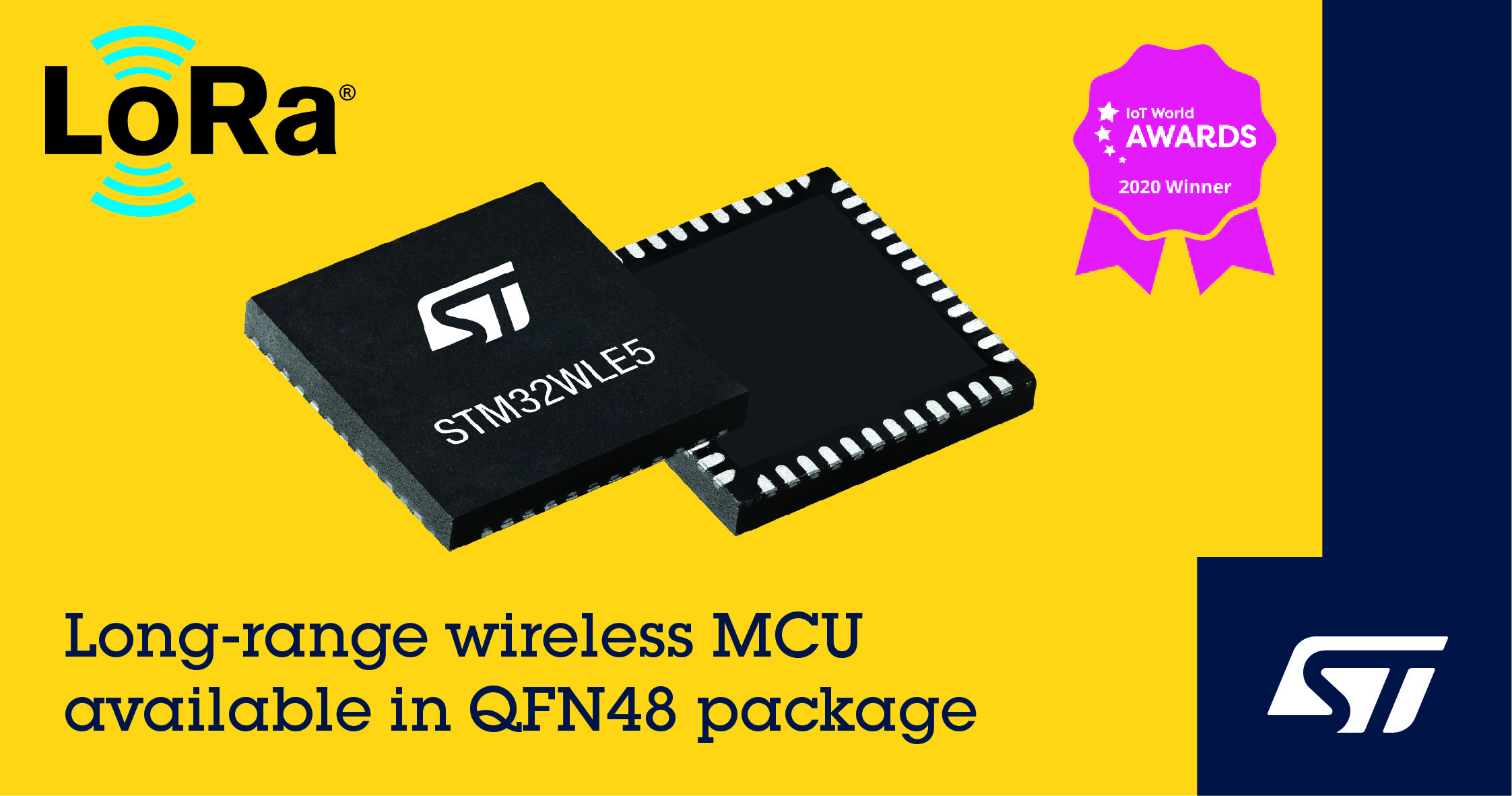 意法半导体推出48引脚封装扩大市面上唯一支持LoRa®的STM32WL系统芯片的选择