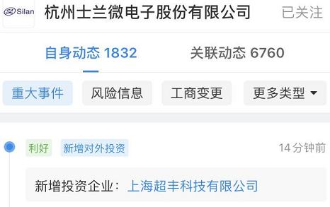 士兰微投资上海超丰科技,后者经营范围包括集成电路芯片设计