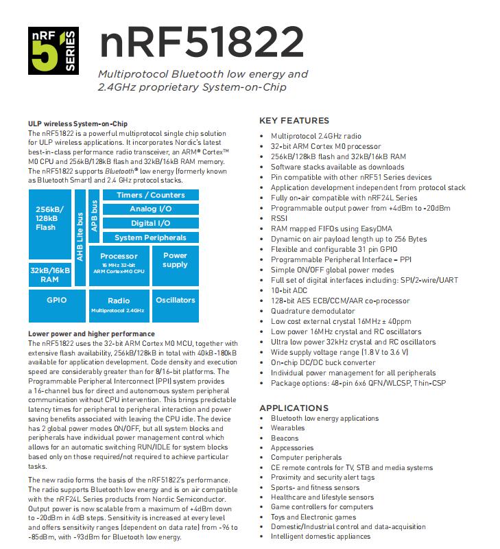 NORDIC的蓝牙无线芯片模块N51822系列基础介绍