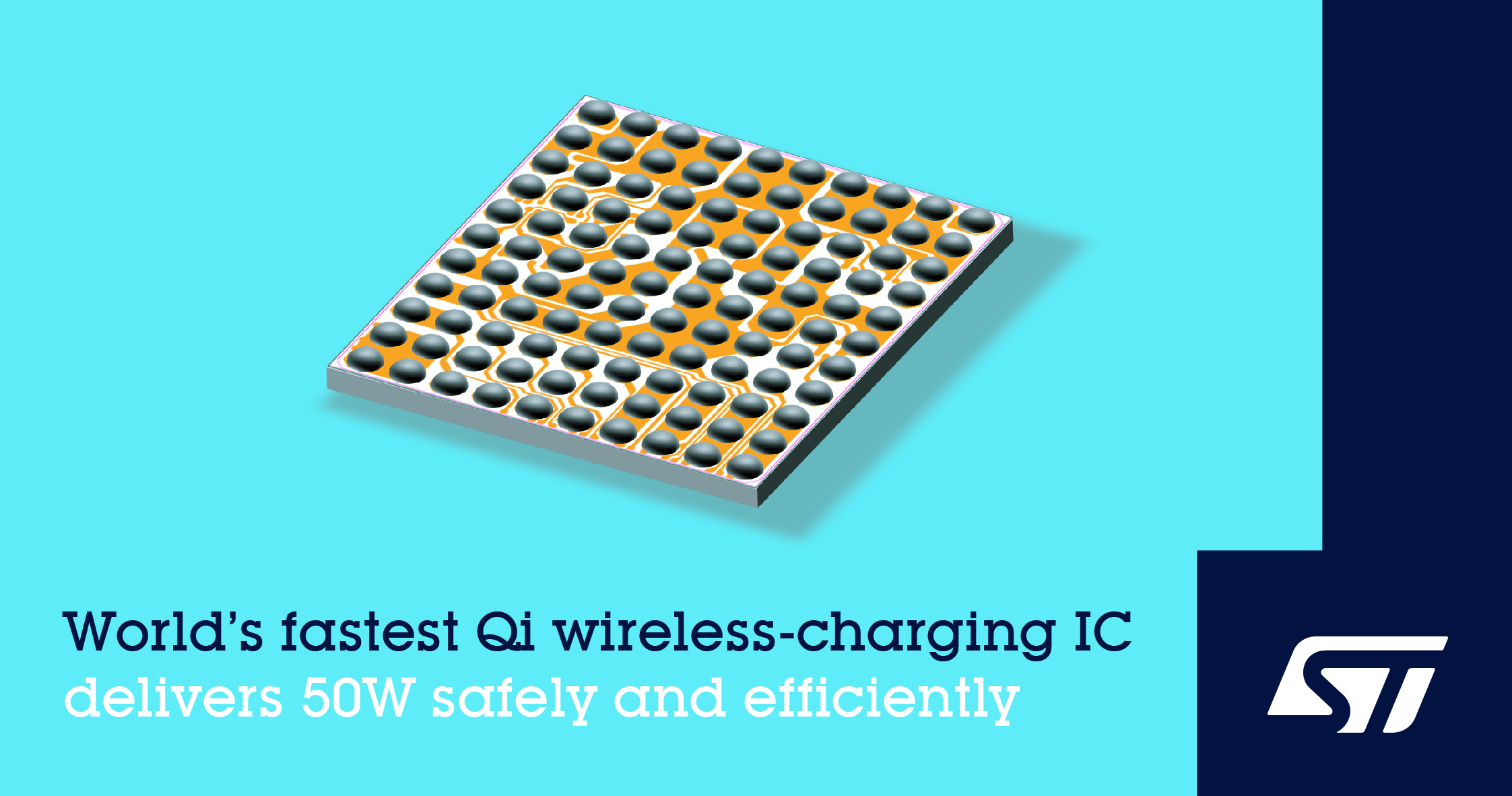 意法半导体发布50W Qi无线超级快充芯片