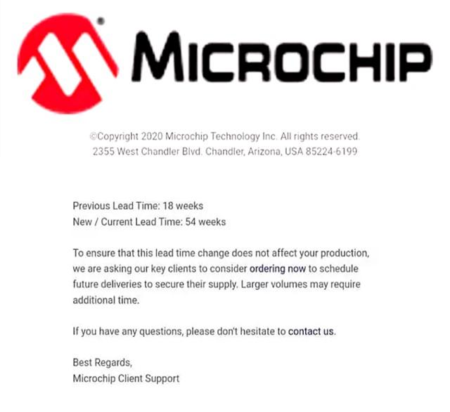 缺货潮持续,Microchip订单交期延长至54周